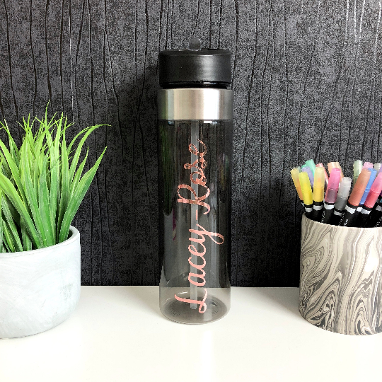 Black Personalised Water Bottle