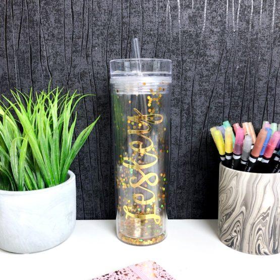 Gold Glitter Confetti Personalised Tumbler