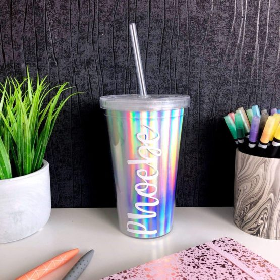 Iridescent tumbler cup with straw