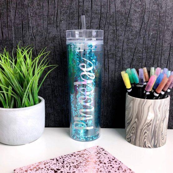 Blue Glitter Confetti Personalised Tumbler
