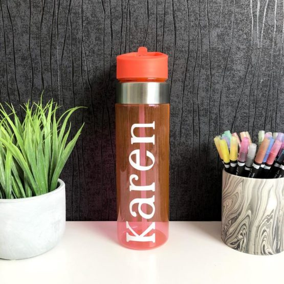 Coral Personalised Water Bottle