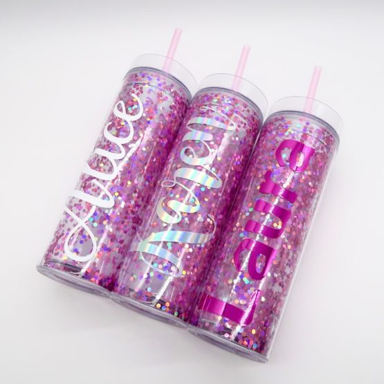 Pink Extra Glitter Confetti Personalised Tumbler