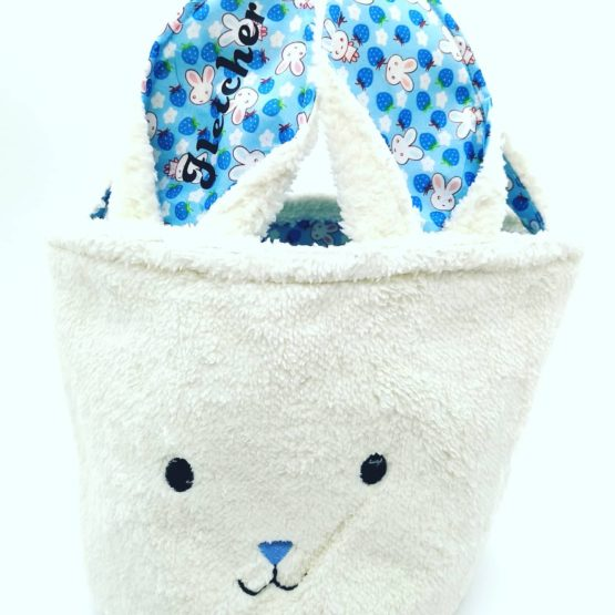Personalised Easter Fluffy Bunny Basket