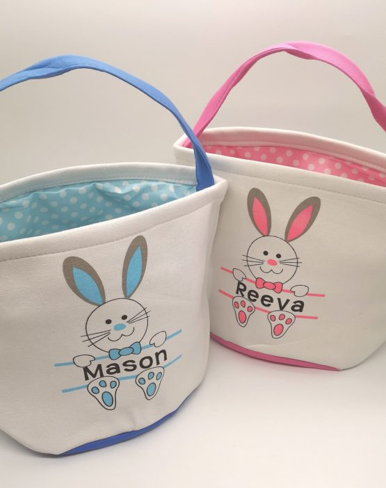 Personalised Easter Bunny Canvas Baskets