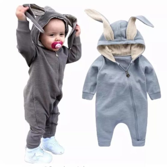 Personalised Baby Bunny Suit GREY